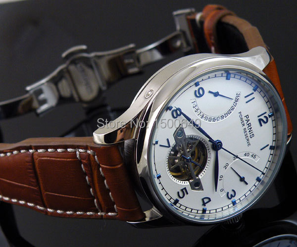 Parnis mechanical White dial Asia Power Reserve 43mm automatic mens Watch W1242