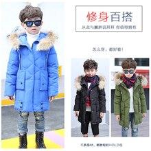 2016 New teenage Boys Winter Long Down Jackets Outerwear Coats Fashion Big Fur Collar Thick Warm White Duck Down 6-12Y