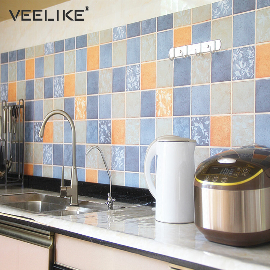 Waterproof Pvc Vinyl Mosaic Tile Wall Stickers For Kitchen