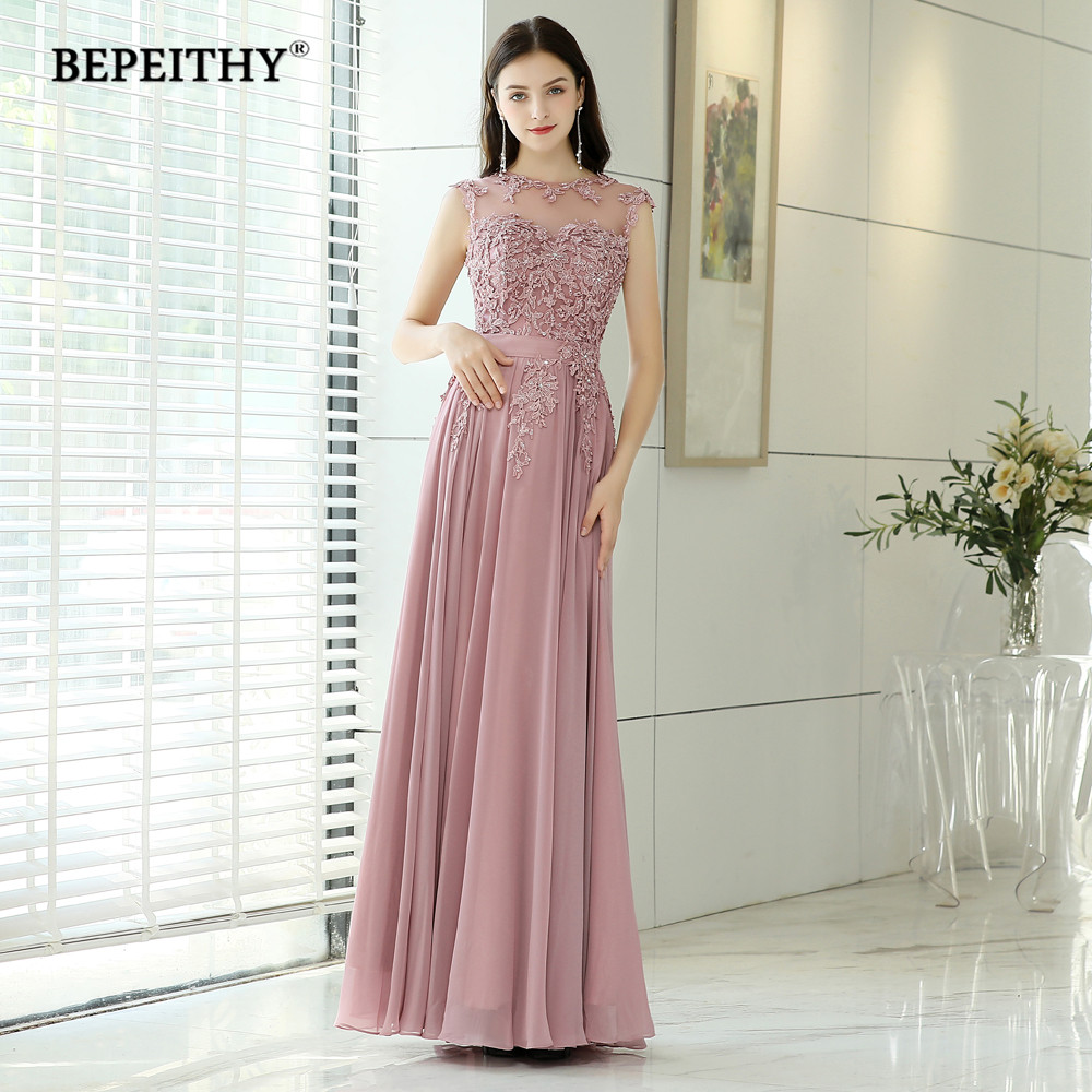 BEPEITHY Pink Long Evening Dresses 2019 Robe De Soiree ...