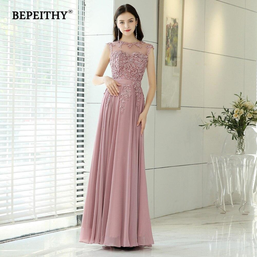BEPEITHY Pink Long Evening Dresses 2019 Robe De Soiree Vintage Prom Dress With Belt Vestido De Festa Evening Gowns