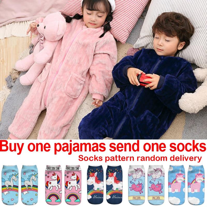 5d9f711eb9 Kids Pajamas Christmas For Girls Onesie Children Plush Costume Boys Pyjamas  Flannel Fleece Sleepwear Girl Warm Winter Sleepers