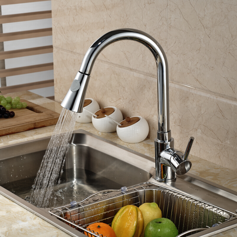 Deck Mount Pull Out Dual Sprayer Nozzle Kitchen Sink Faucet Single Lever Mixer Tap for Kitchen