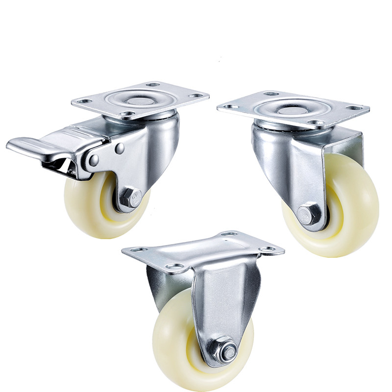 2pcs 3 inches light series white Big furniture Nylon caster wheel For Coffee table, desk, small cupboard