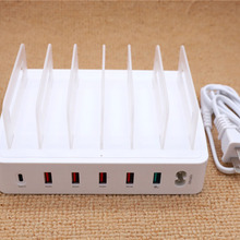 6 Port QC3.0 USB Charger Quick Charging Station Dock Multiple Devices Organizer For Iphone Docking Apple Type