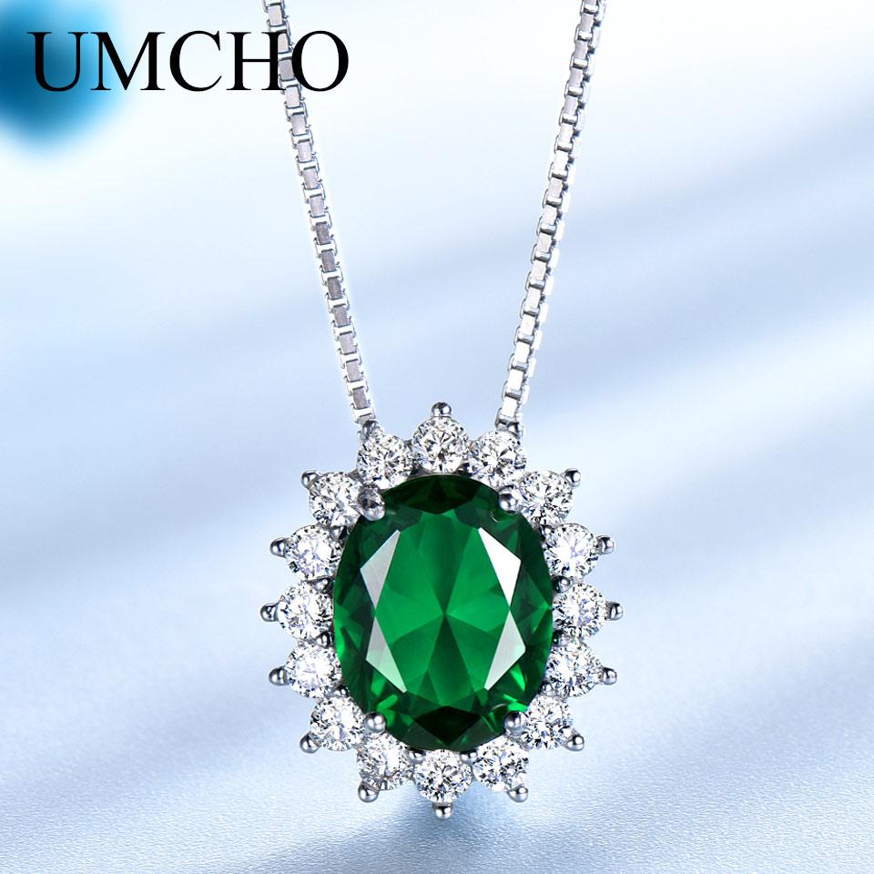 UMCHO Oval 8 * 10mm Gemstone Nano Emerald Privjesak 925 Sterling - Fine nakit - Foto 1
