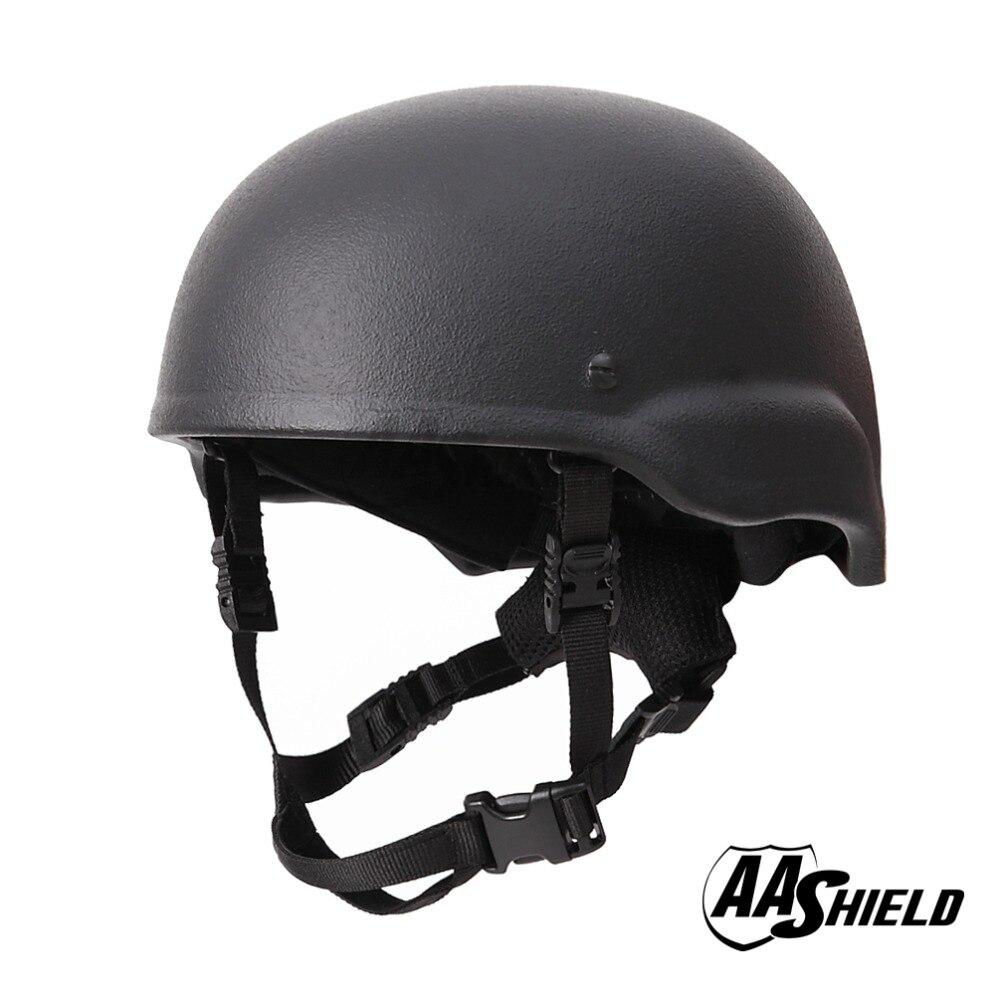 AA Shield Ballistic MICH Tactical Teijin Middle Cut Helmet Color Black Bulletproof Aramid Safety NIJ Level