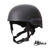 AA Shield Ballistic MICH Tactical Teijin Middle Cut Helmet Color Black Bulletproof Aramid Safety NIJ Level IIIA Military Army