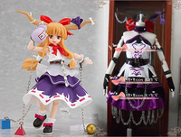 Touhou Project Immaterial and Missing Power Suika Ibuki Cosplay Costume top+skirt with hair accessory