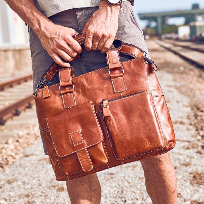 """100% جلد طبيعي الرجال يد المقطع العرضي الأعمال 15 """"كمبيوتر محمول حقيبة البريطانية المد أزياء الرجال الكتف رسول حقائب-في حقائب جلدية من حقائب وأمتعة على  مجموعة 2"""