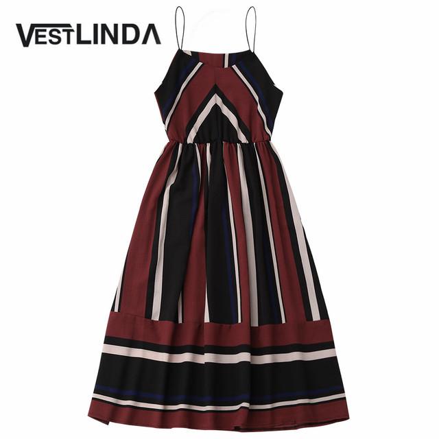 VESTLINDA Casual Boho Beach Summer Dress Striped Spaghetti Straps Cami Women Party Dress 2017 Femme A Line Bohemian Vestido Robe