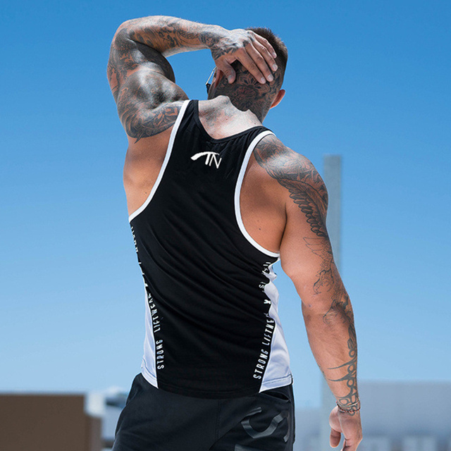 Men Bodybuilding Tank Tops Gyms Workout Fitness Cotton Sleeveless shirt Joggers Clothes Stringer Singlet Male Summer Casual Vest 32