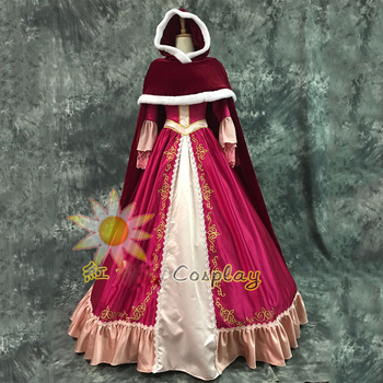 Free Shipping Fashion Beauty And The Beast Princess Red Cosplay Costume Belle Dress & Cloak For Women Halloween Party Costumes