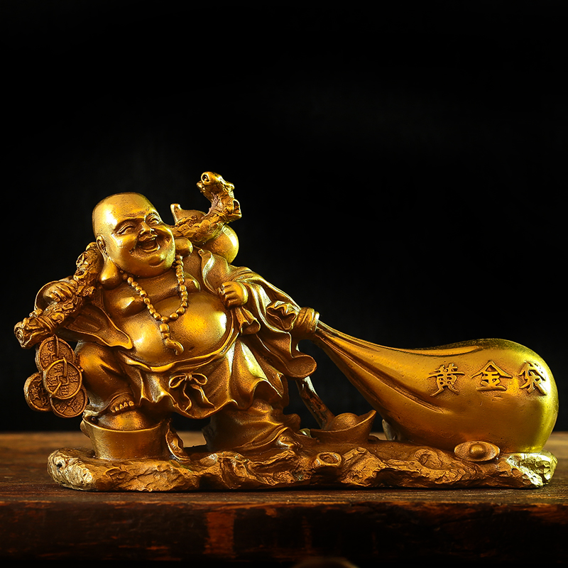 Pure Copper, Maitreya Buddha Statue, Big Belly Laughing Buddha Ornaments, Cloth Bag Monk, Gold Bag, Lucky, Company Opening Gift