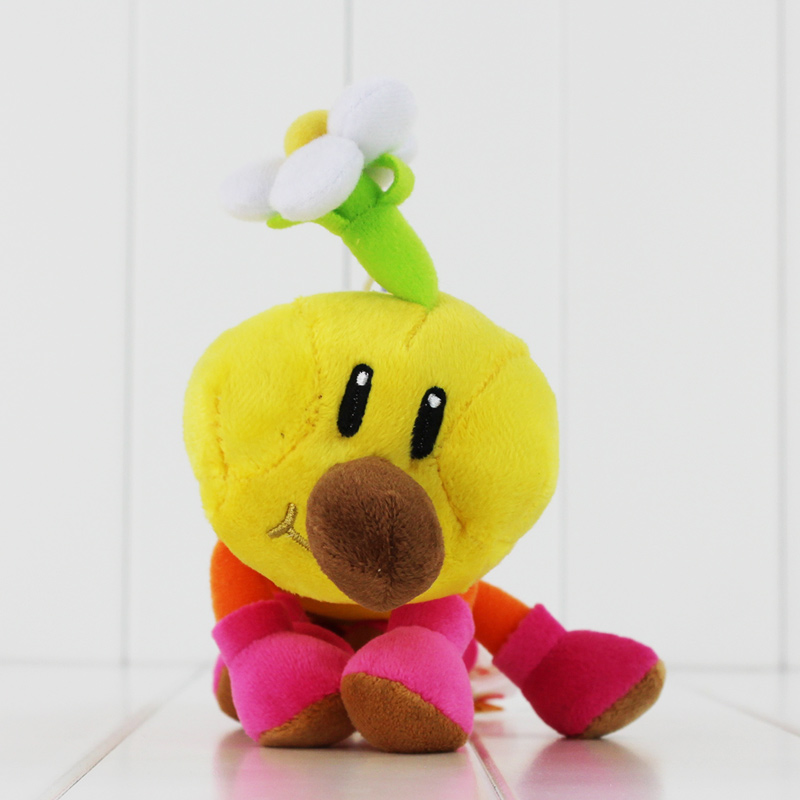 New Super Mario Bros Caterpillar Wiggler Marghibruco Stuffed Plush Doll Keychain Sucker Kids Toys Gifts 30cm super mario bros green yoshi soft stuffed plush toys doll with tag gift for kids