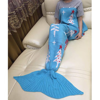 7 Kleuren Winter Kerstcadeau Mermaid Tapijten Wol Breien Fishtail Mermaid Deken Tapijt Wol Dutje Deken Kleed