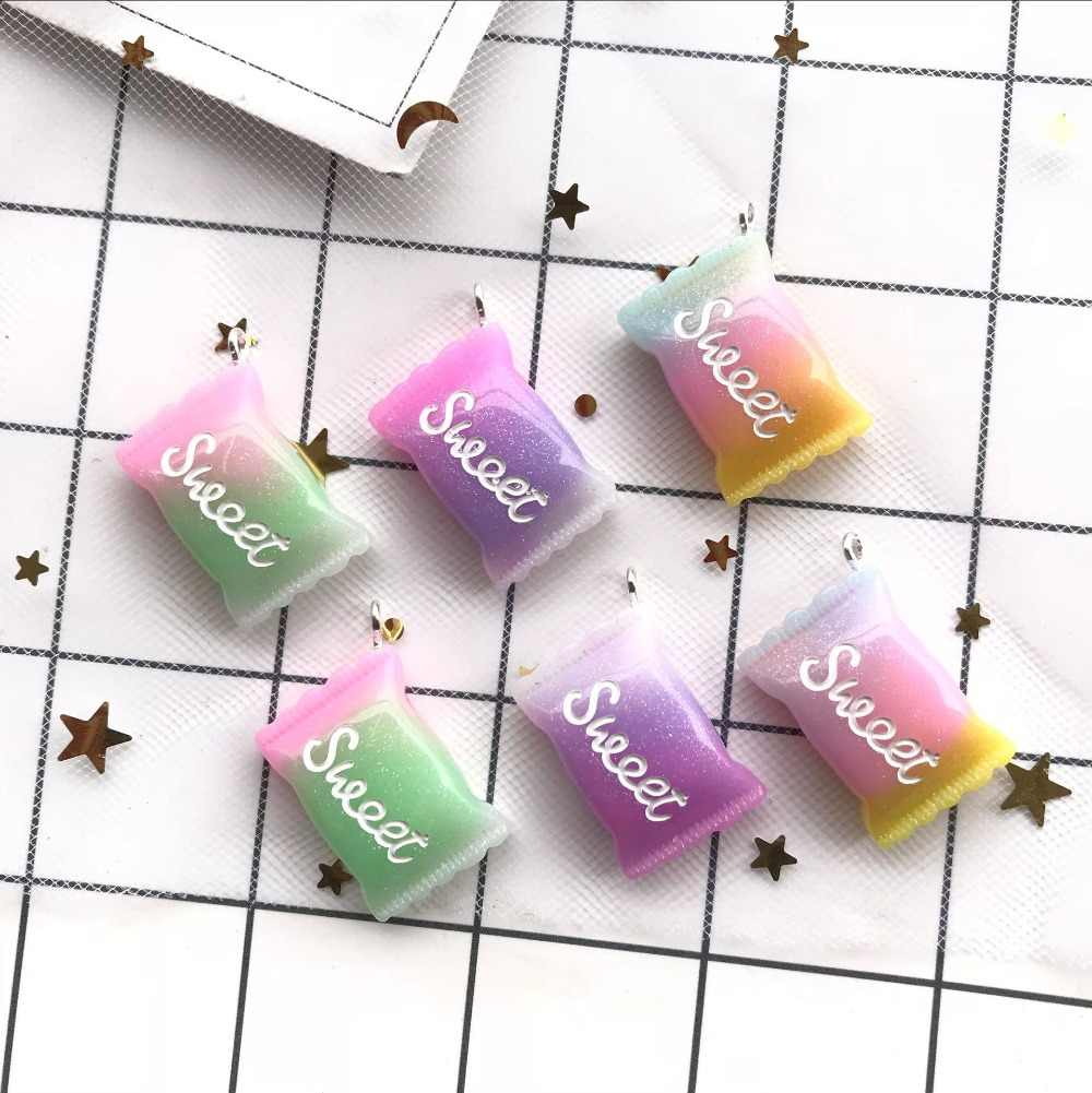 new 25*16mm  10pcs resin Fancy candy earrings charms very cute charms keychain pendant necklace pendant for jewerly  decoration