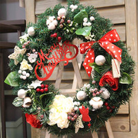 Christmas Wreath Bowknot Artificial Flower Decoration Door Wall Garland Ornament Diameter 40cm Guirlanda De Natal Para