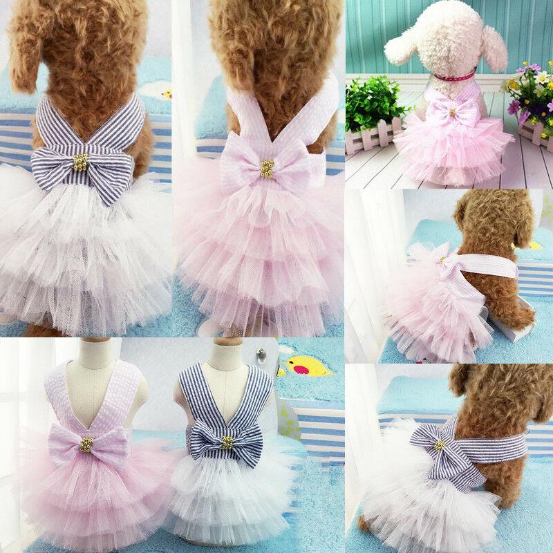 Dots Heart Princess TUTU Dress Skirt Cat Puppy Small Girl dog Clothes XS-XXL