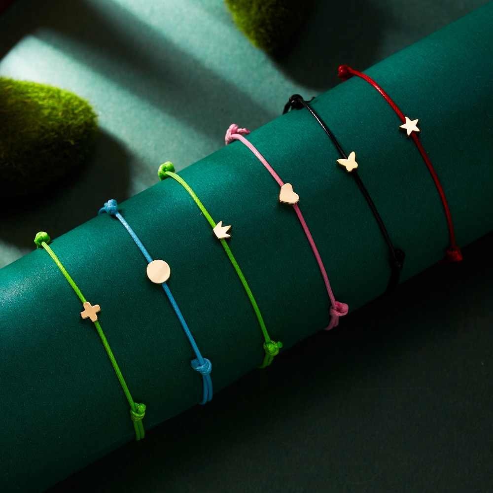 Wish Card Adjustable Hand-woven Rope Bracelet Femme Minimalist Heart Crown Round String Ehthic Bracelet Fashion Women Jewelry