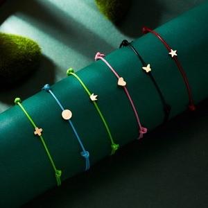 Wish Card Adjustable Hand-woven Rope Bracelet Femme Minimalist Heart Crown Round String Ehthic Bracelet Fashion Women Jewelry