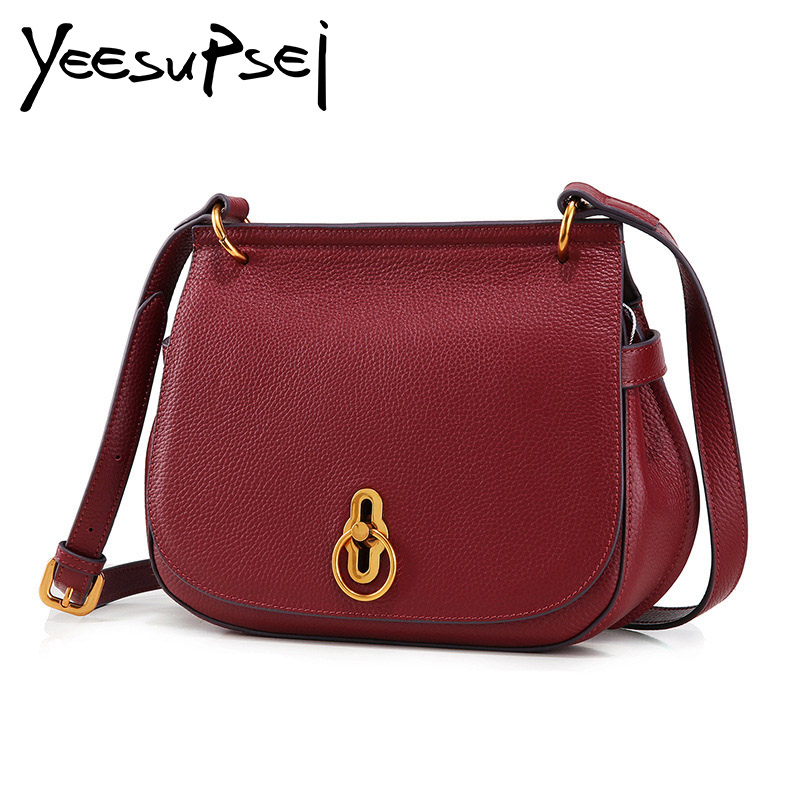 YeeSupSei Luxury Genuine Leather Messenger Bag Women Shoulder Bag Saddle Flap Clutch Bag Small Crossbody Bag Young Lady Purse lacattura luxury handbag chain shoulder bags small clutch designer women leather crossbody bag girls messenger retro saddle bag