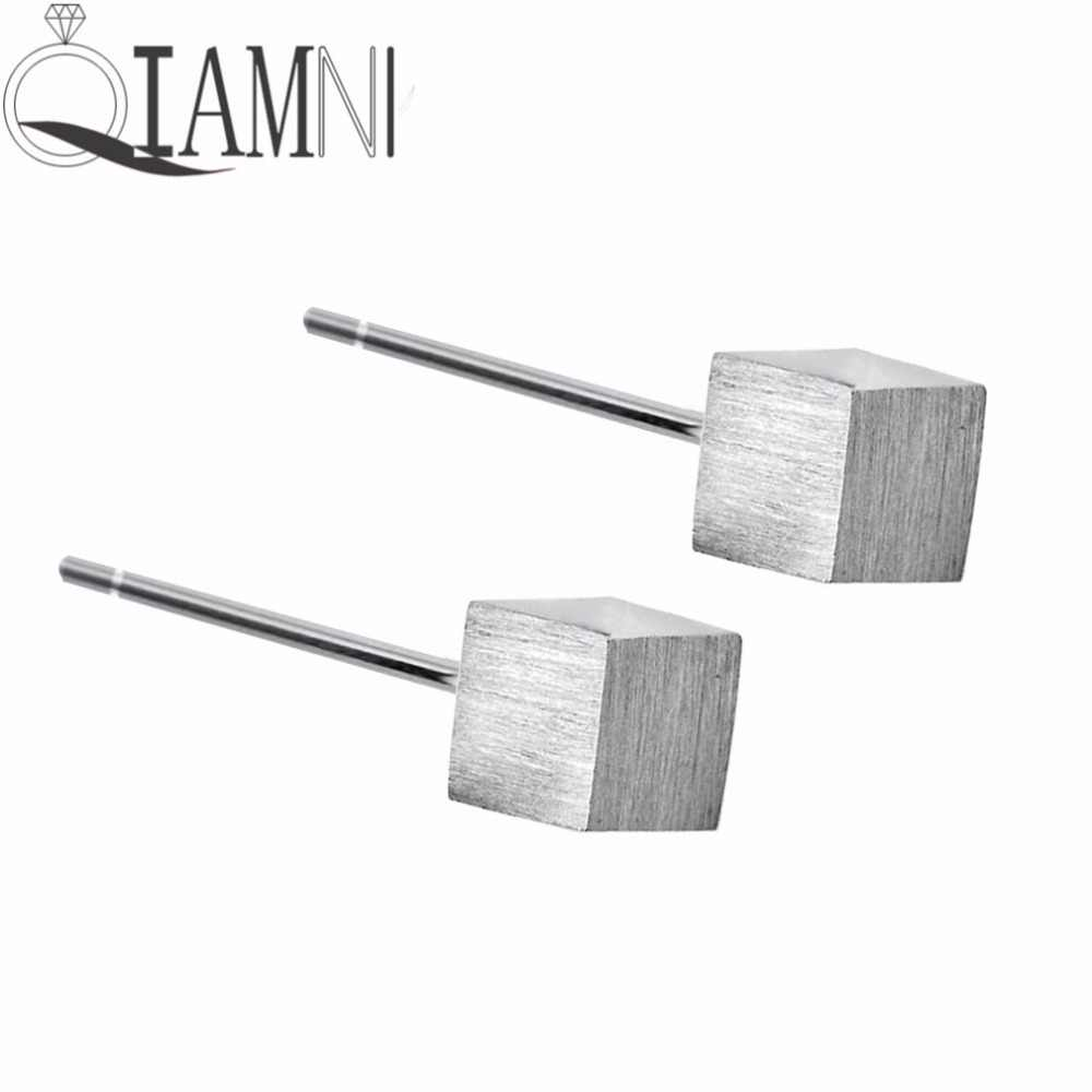 Qiamni Mini Geometris Cubic Persegi Persegi Panjang Menusuk Stud Anting-Anting untuk Wanita Gadis Natal Hadiah Perhiasan