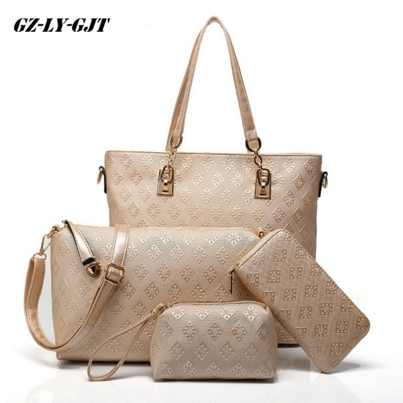 GZ-LY-GJT 4 Pcs/set Shoulder Bags For Women Large Messenger Female Handbag Brand PU Leather Top-handle Bags Women Totes bags stylish jewel neck backless pu leather top for women