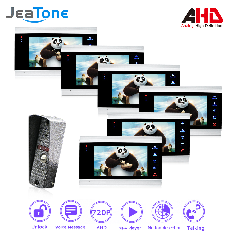 1 to 6 AHD 7'' Video Door Phone Intercom 4 Wired DoorBell Door Speaker Security System Voice message/Motion Detection/MP4 Player