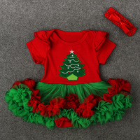 Cute Short Sleeve Green And Red Bodysuit Tree Party Dresses Newborn Toddler Girl Layered Tutu Christmas