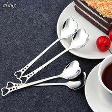 HYUUGA nueva forma de corazón de acero inoxidable cuchara de café, postre azúcar agitador cuchara helado yogurt miel cuchara cocina regalo caliente