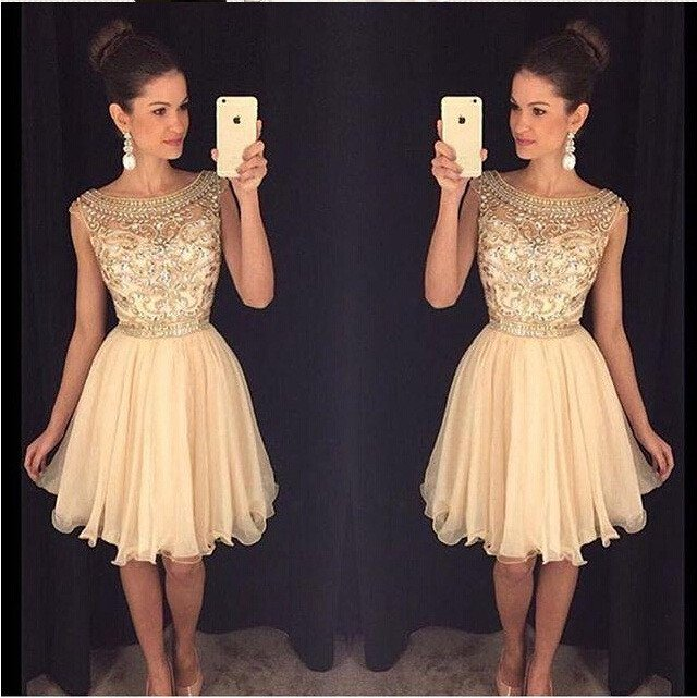 Gold 2019 Homecoming Dresses A line Cap Sleeves Organza Beaded Crystals Embroidery Elegant Cocktail Dresses