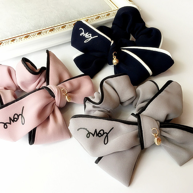 Fashion Simple Girls hair accessories Sweet Bow headband LOVE alphabet rubber band elastic hair bands 2018 FANSSEE