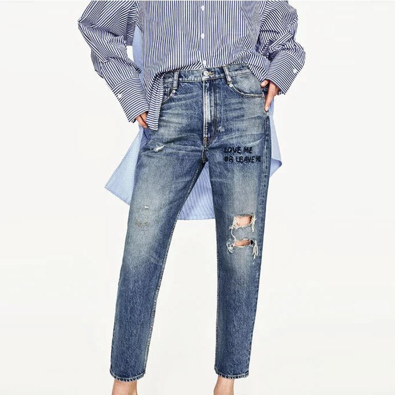 2017 European and American Style Woman Pencil Jeans Pants Slim Denim Pants Hole Designer Brand Women Trousers Bottom Wear S515 jeans woman new real 2017 spring and summer european american style fashion lace pants denim trousers pencil feet free shipping