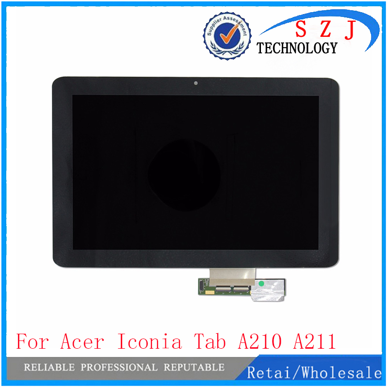 New 10.1 For Acer Iconia Tab A210 A211 Full Touch Screen Panel Digitizer Glass + LCD Display Assembly Replacement Free Shipping white touch panel for highscreen spade lcd display touch screen digitizer panel assembly replacement part free shipping