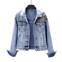 Women Fashion Beading Short Long Sleeve Denim Jacket Women Autumn Spring Tops Single Breasted Jacket 1966