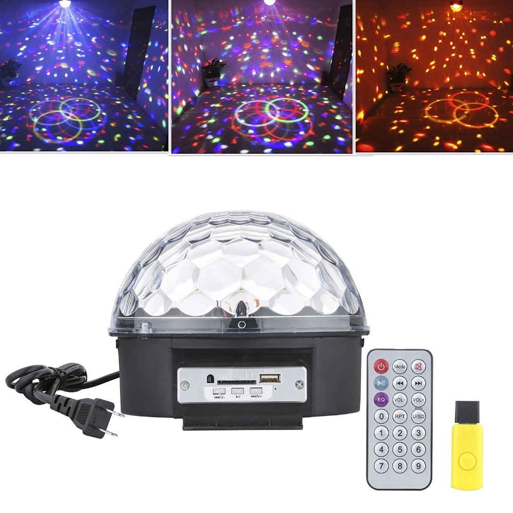 все цены на Mp3 LED RGB Crystal Magic Ball Effect Light 6 Color Rotating Disco Stage Light with Remote Control U-disk for KTV Xmas PartyClub онлайн