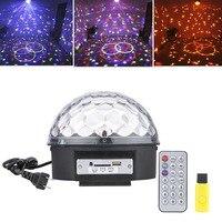 Mp3 led rgbクリスタルマジックボール効果光6色回転ディスコステージライトリモコン付きu-ディスク用ktvクリスマスpartyclub