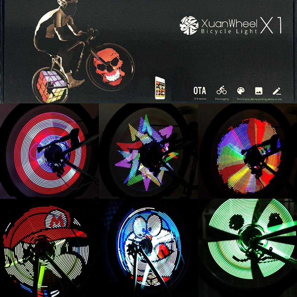 Xuanwheel colorido luzes da bicicleta ciclismo roda falou luz 192 pçs leds rgb diy ciclo bicicleta luz inteligente acessórios