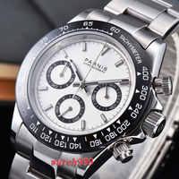 39 ミリメートルパーニス時計ホワイトダイヤルサファイアクリスタル展開クラスプセラミックベゼル固体フルクロノグラフ豪華なクォーツメンズ腕時計