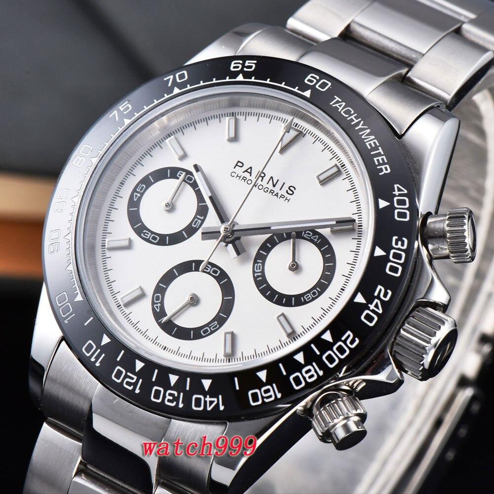 39mm PARNIS Clock White Dial Sapphire Crystal Deployment Clasps Ceramic Bezel Solid Full Chronograph Luxurious Quartz Mens Watch