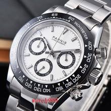 39 мм PARNIS часы с белым циферблатом сапфировые кристаллы разворачивающиеся застежки керамический Безель твердый Полный Хронограф Роскошные Мужские кварцевые часы