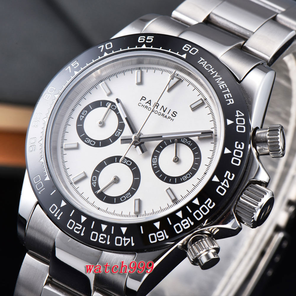 39mm parnis 시계 화이트 다이얼 사파이어 크리스탈 배치 clasps 세라믹 베젤 솔리드 풀 크로노 그래프 고급스러운 쿼츠 시계-에서수정 시계부터 시계 의  그룹 1