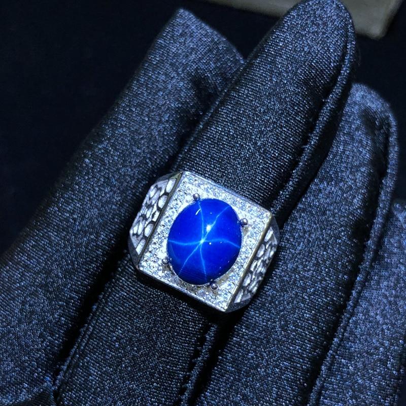 النجوم خاتم من الياقوت الأزرق ، الكلاسيكية 925 الفضة النقية نجمة خط جميلة البريد التعبئة-في خواتم من الإكسسوارات والجواهر على  مجموعة 1
