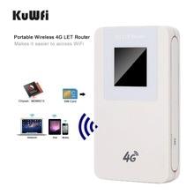 KuWfi مقفلة 4G LTE راوتر لاسلكي MiFi 4600 mAh قوة البنك موزع إنترنت واي فاي المحمولة اللاسلكية مودم مع SIM فتحة للبطاقات