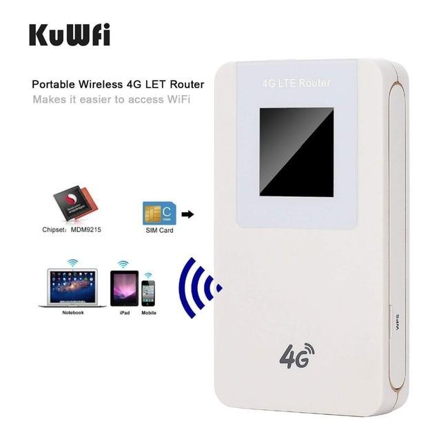 KuWfi Unlocked 4G LTE Wireless Router MiFi  4600mAh Power Bank WIFI Router Portable Wireless Modem With SIM Card Slot