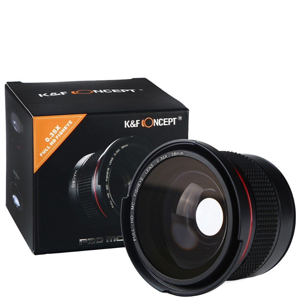 K&F CONCEPT HD 0.35x 58mm/52mm Fisheye Macro Wide Angle Lens for Canon EOS 700D 650D 600D 550D Rebel T5i T4i T3i T2i DSLR Camera 5