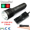3 Mode Portable Small UF-1506 XP-E Green / Red Light LED Zoomable Flashlight 20mm Aspherical Lens For 1*18650 battery
