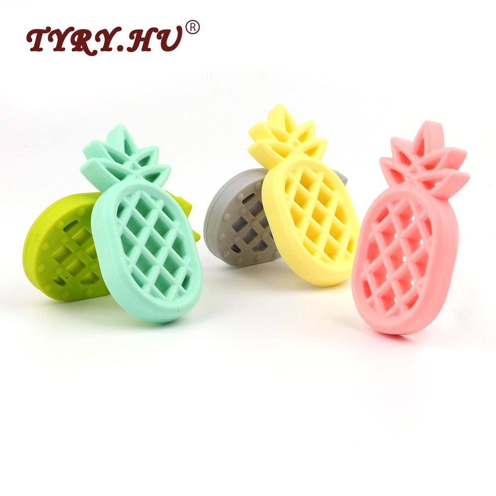 TYRY.HU 3Pcs/Lot Pineappl Shaped Silicone Teether BPA Free Christmas Present DIY Pacifier Clips Soother Chain Baby Teething Toys