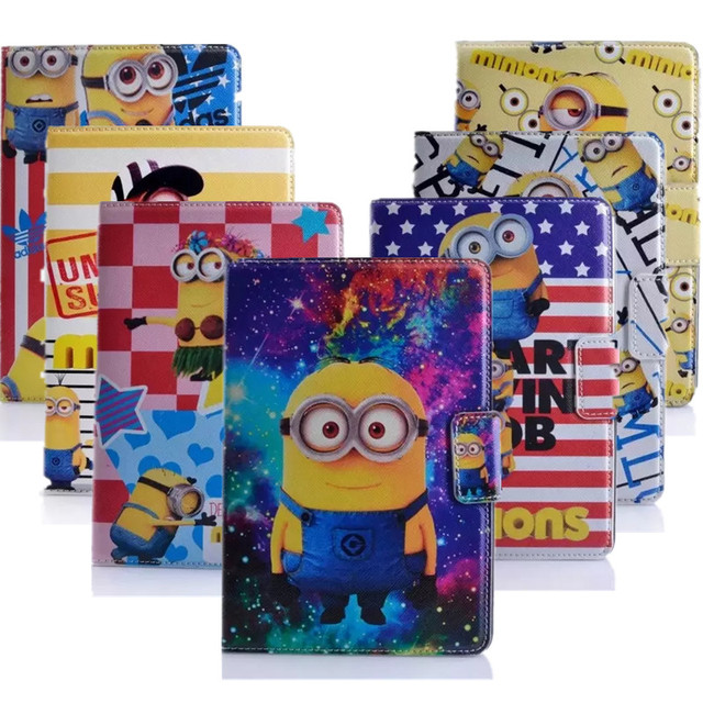 Despicable Me Minion Flip Wallet Stand PU Leather Case Cover Protector Defender For Apple Ipad mini mini 2 mini 3 Tablet case